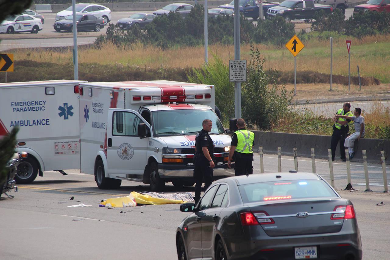 VIDEO: Fatal motorcycle accident closes Nordel Way near bridge ...