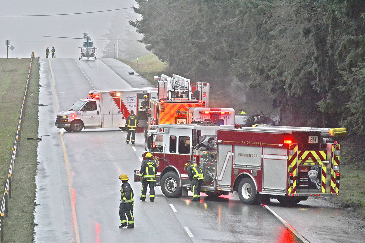 VIDEO: Air ambulance lands on Highway 99 in South Surrey – North